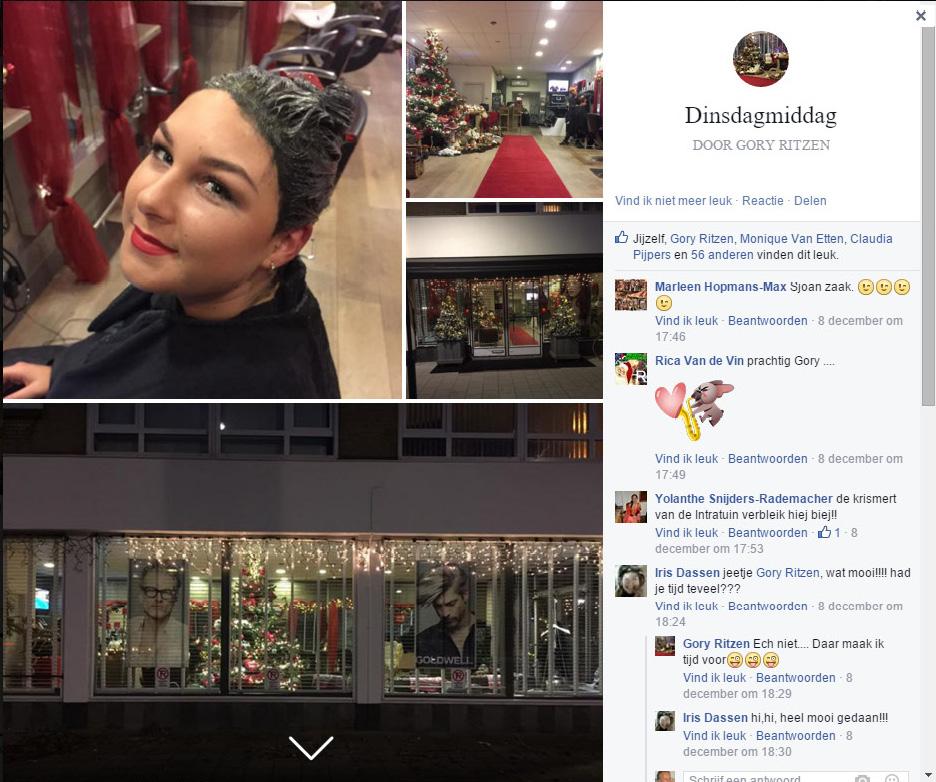 Wat de gasten van Kapper Gory schreven op Facebook over de Kerstversiering
